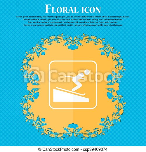 Skier icon. Floral flat design on a blue abstract background with place for your text. Vector - csp39409874