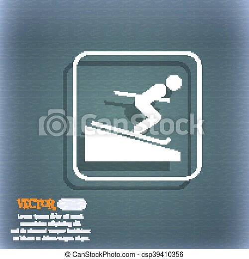 Skier icon. On the blue-green abstract background with shadow and space for your text. Vector - csp39410356