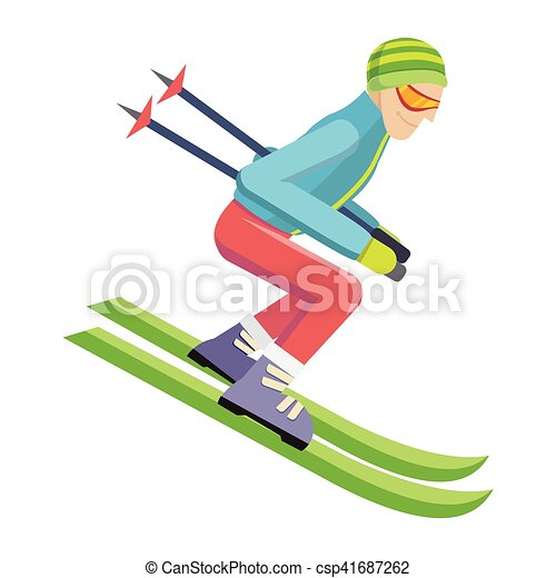 skier isolated on white person skiing vector skier clip art rh canstockphoto com skier clipart images ski clipart