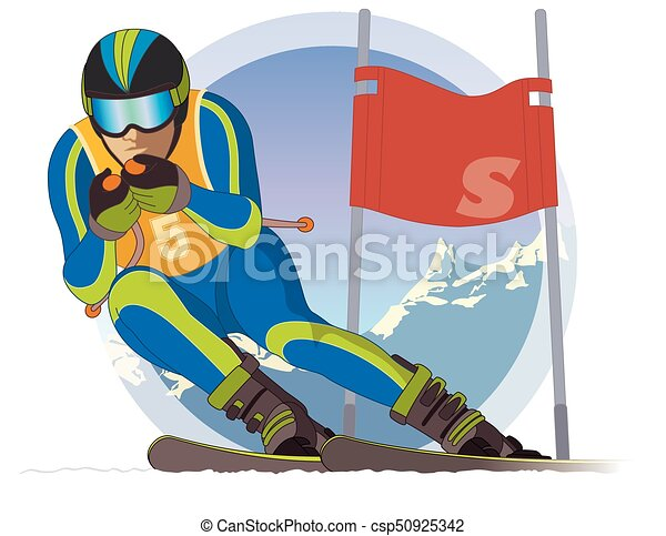 skier male, racing downhill with ski flag and mountains in the background - csp50925342