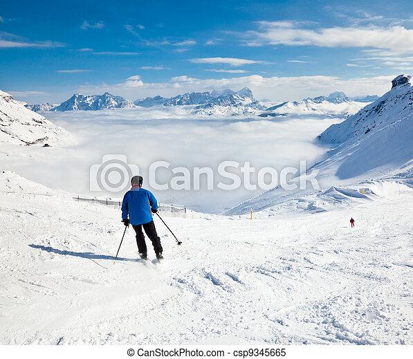 Skier on a piste - csp9345665