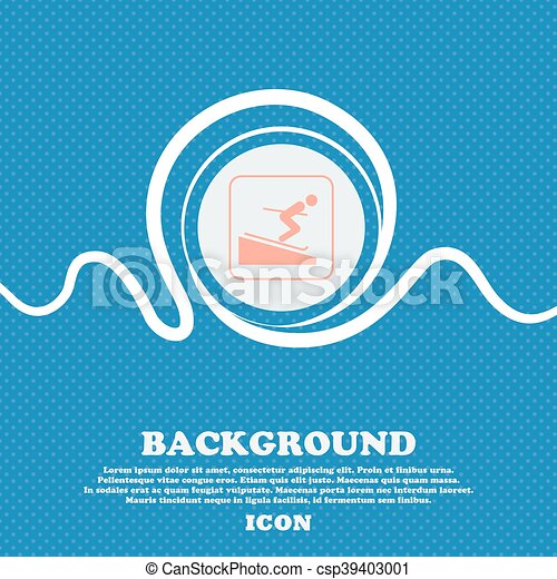 Skier sign. Blue and white abstract background flecked with space for text and your design. Vector - csp39403001