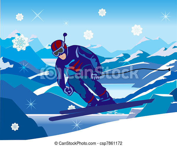 skier sloping down from the hill - csp7861172