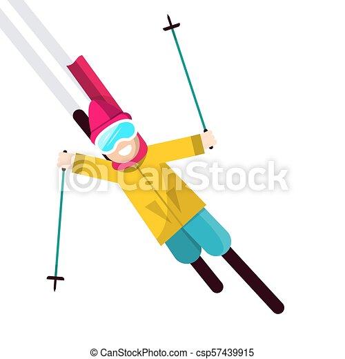 Skier Vector Illustration Isolated on White Background - csp57439915