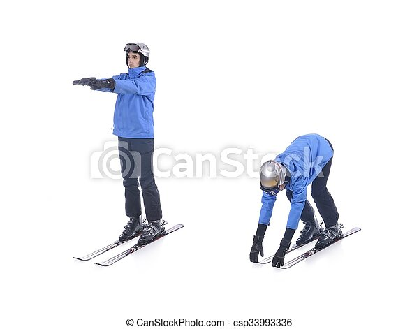 skiier demonstrate warm up exercise for skiing bend forward