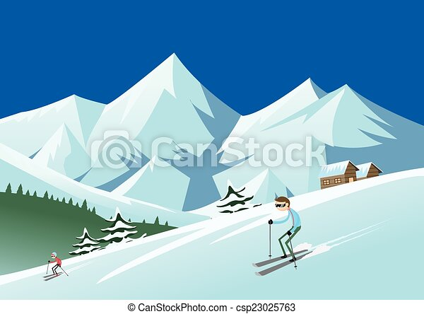 skiing at ski resort skiers sliding from the mountain rh canstockphoto com Snow Mountain Clip Art Ski Lodge Clip Art