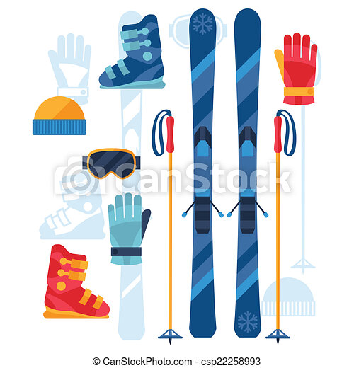 Skiing equipment icons set in flat design style. - csp22258993