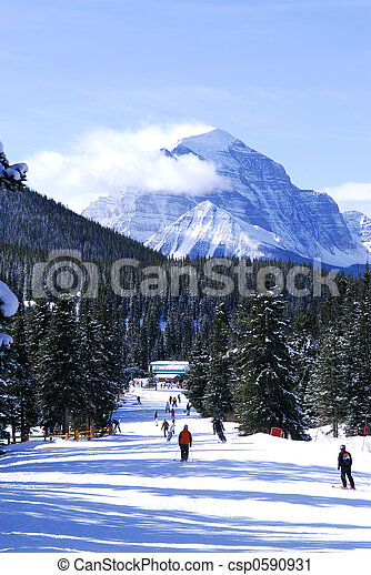 Skiing in mountains - csp0590931