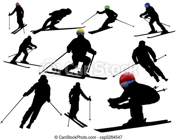 Skiing silhouettes - csp5284547