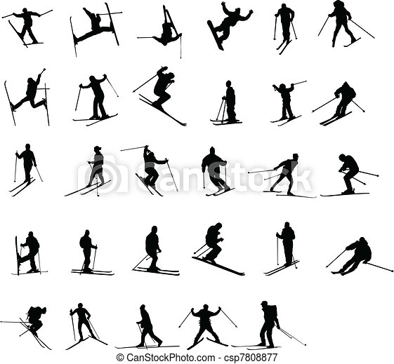skiing silhouettes  - csp7808877
