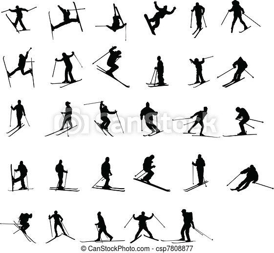 skiing silhouettes  - csp7808877