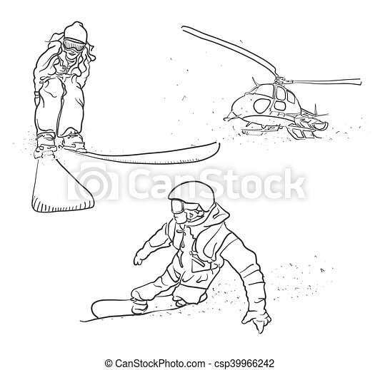 Skiing, Snowboarding and Helicopter Doodle Sketches - csp39966242