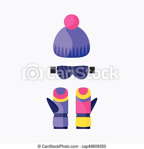 Skiing, snowboarding mask, goggles, eyewear and knitted beanie hat - csp49609350