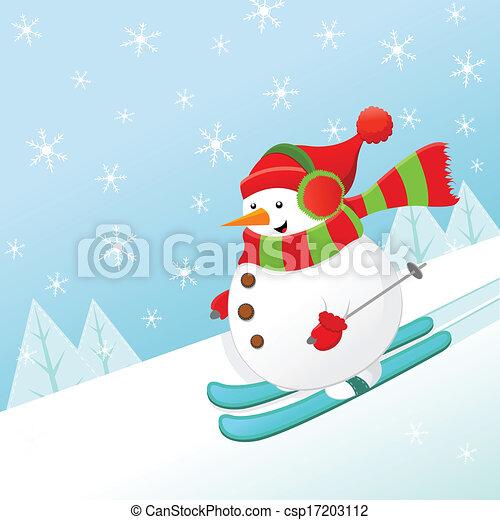 Skiing Snowman - csp17203112
