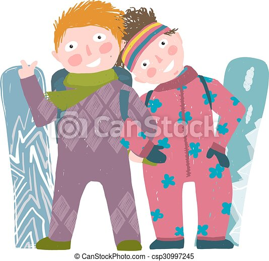 6de99dd4f1c Skiing Sport Child Girl and Boy in Winter Clothes with Snowboard Cartoon -  csp30997245