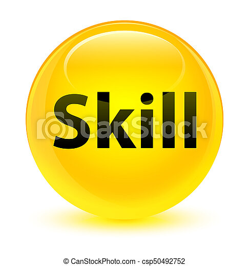 Skill glassy yellow round button - csp50492752