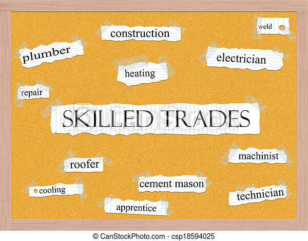 Skilled Trades Corkboard Word Concept - csp18594025