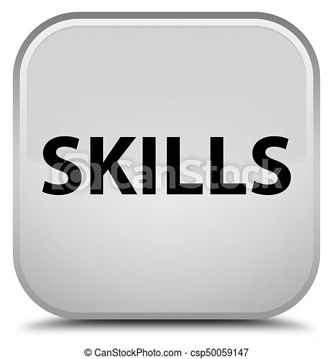 Skills special white square button - csp50059147