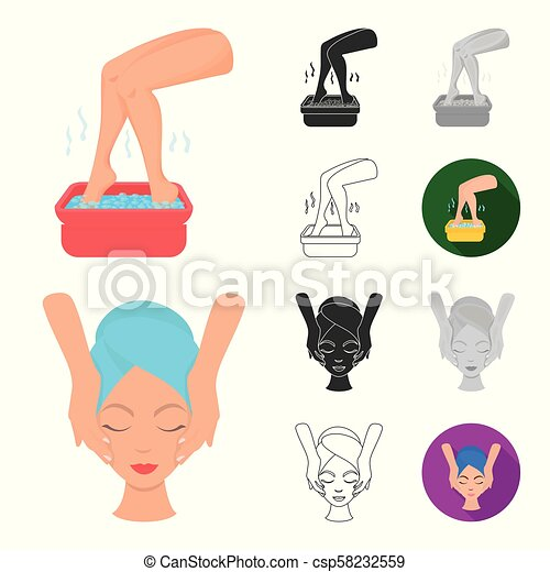 Skin care cartoon, black, flat, monochrome, outline icons in set collection for design. Face and body vector symbol stock web illustration. - csp58232559
