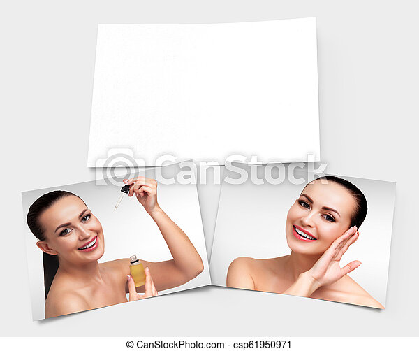 Skin care concept. Two images of pretty girl and an empty banner for your information laying on the surface. 3D rendering - csp61950971