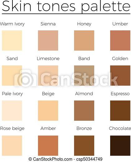 Skin Tones Color Palette Vector Skin Color Vector Chart