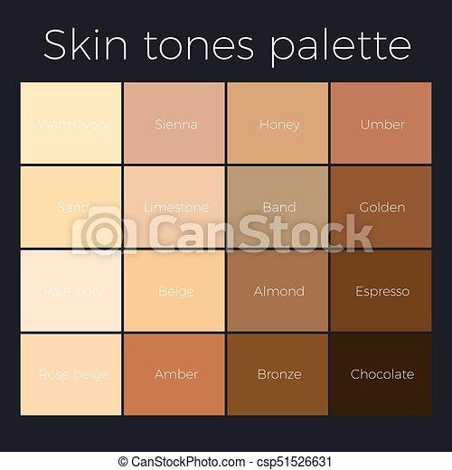 Skin Tones Palette Vector Skin Color Chart