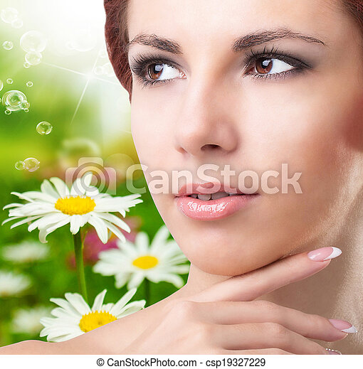 Beauty Young Girl Over Nature Green Background Skincare Face