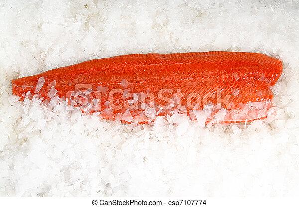 Skinless salmon fillet on ice - csp7107774