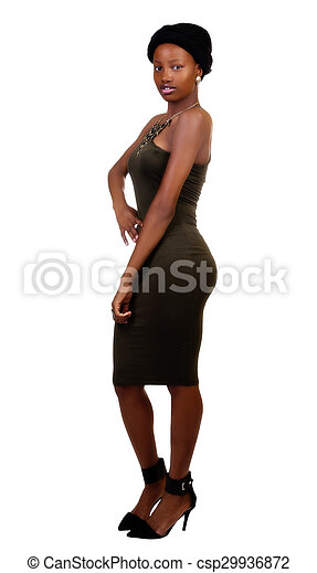 Skinny African American Woman Standing Green Dress - csp29936872