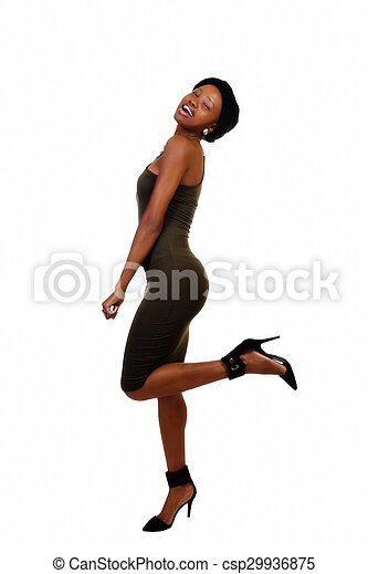Skinny African American Woman Standing Green Dress - csp29936875