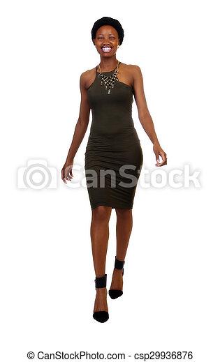 Skinny African American Woman Standing Green Dress - csp29936876