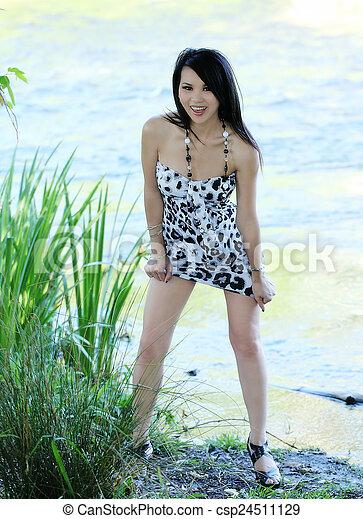 Skinny Asian American Woman Outdoors Short Dress - csp24511129
