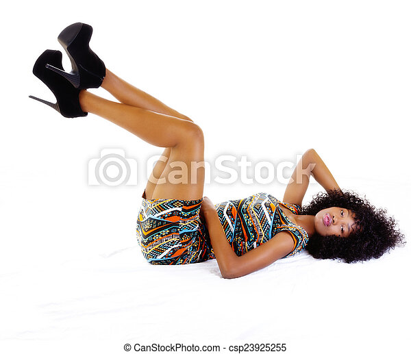 Skinny Attractive  African American  Reclining - csp23925255