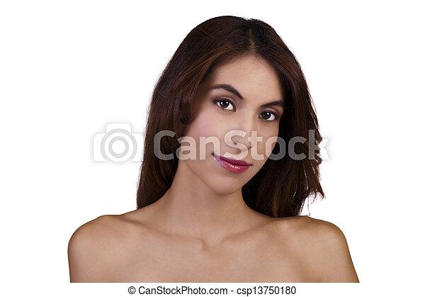Skinny Bare Shoulder Portrait Attractive Hispanic Woman - csp13750180