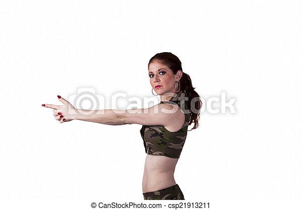 Skinny Redheaded Woman Pointing Fingers Like Gun - csp21913211