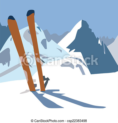 Skis in the mountain. - csp22383498