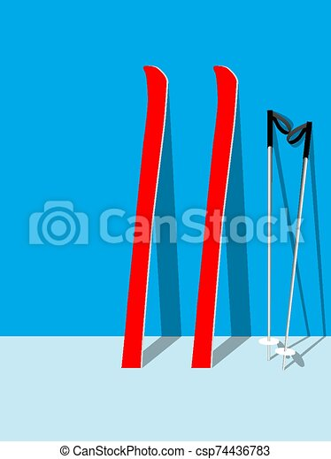 skis on the wall - csp74436783