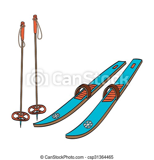 vector illustration of a cross country old fashioned skis clip rh canstockphoto com ski clipart free skin clipart