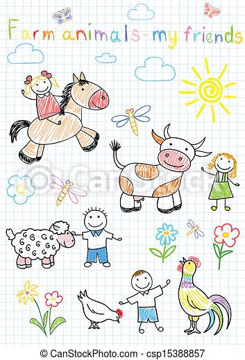 skitser, dyr, agerjord, børns, vektor, glade - csp15388857