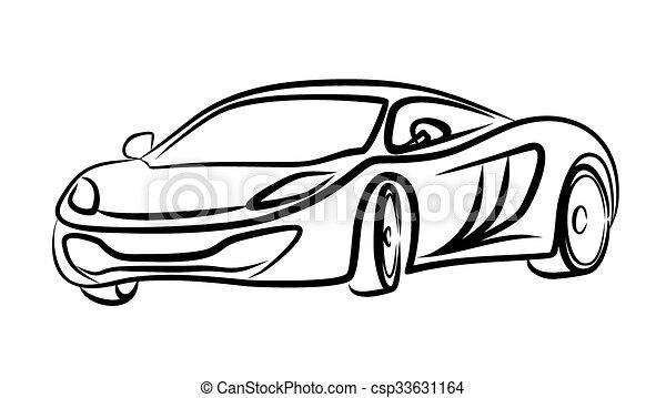 Skizze, auto., sport. Auto., skizze, mächtig, sport.