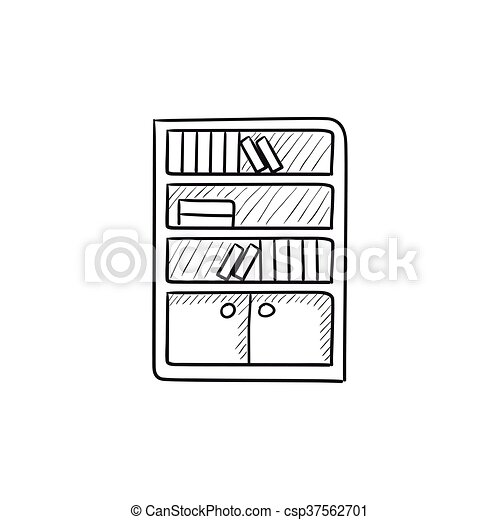 Bücherregal gezeichnet  Vektor Clipart von skizze, bücherregal, icon. - website, skizze ...