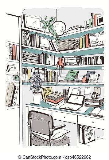 Bücherregal gezeichnet  Clipart Vektorbild von skizze, bücherregale, illustration., bunte ...