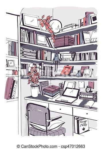 Bücherregal gezeichnet  Clip Art Vektor von skizze, bücherregale, illustration., bunte ...