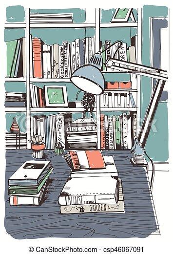 Bücherregal gezeichnet  EPS Vektoren von skizze, bücherregale, illustration., bunte ...