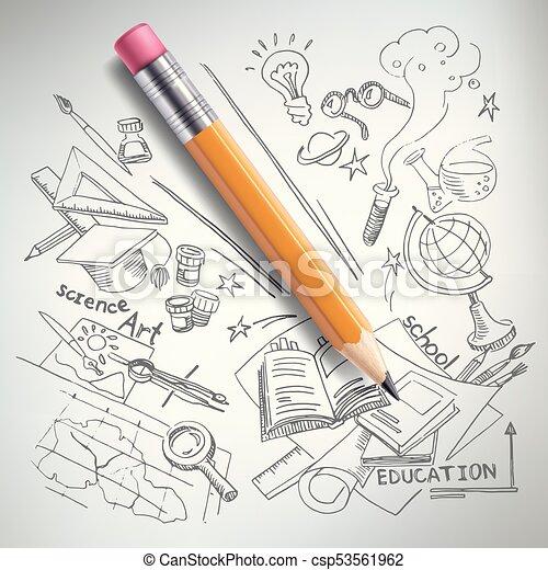 Vektorausbildung Wissenschaftskonzept Stift Zeichnung