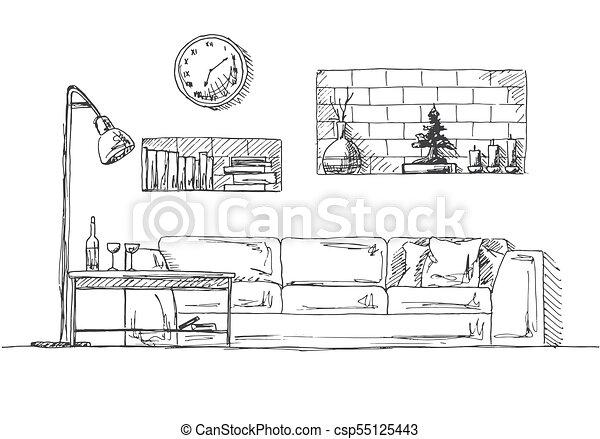 Skizze Boden Lamp Regale Wand Sofa Hand Vektor Abbildung