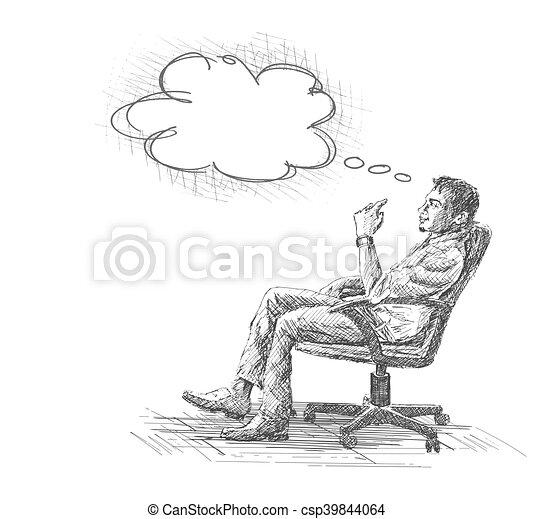 Bürostuhl skizze  Skizze, buero, sitzen, junger, abbildung, hand,... Clipart Vektor ...