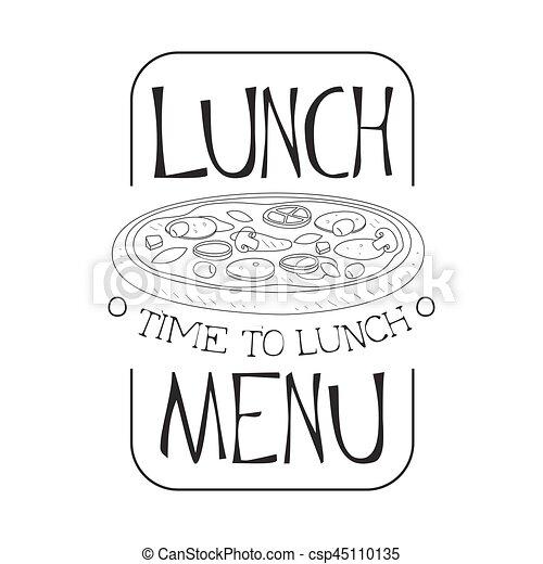 Skizze, café, pizza, promo, menükarte, stil, zeichen, mittagstisch ...