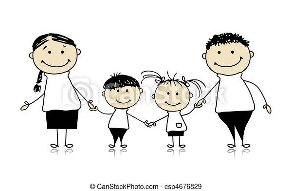 skizze, familie, zusammen, lächeln, zeichnung, glücklich - csp4676829