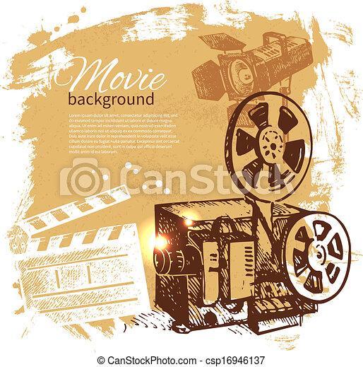 skizze, film, abbildung, hand, hintergrund, gezeichnet - csp16946137